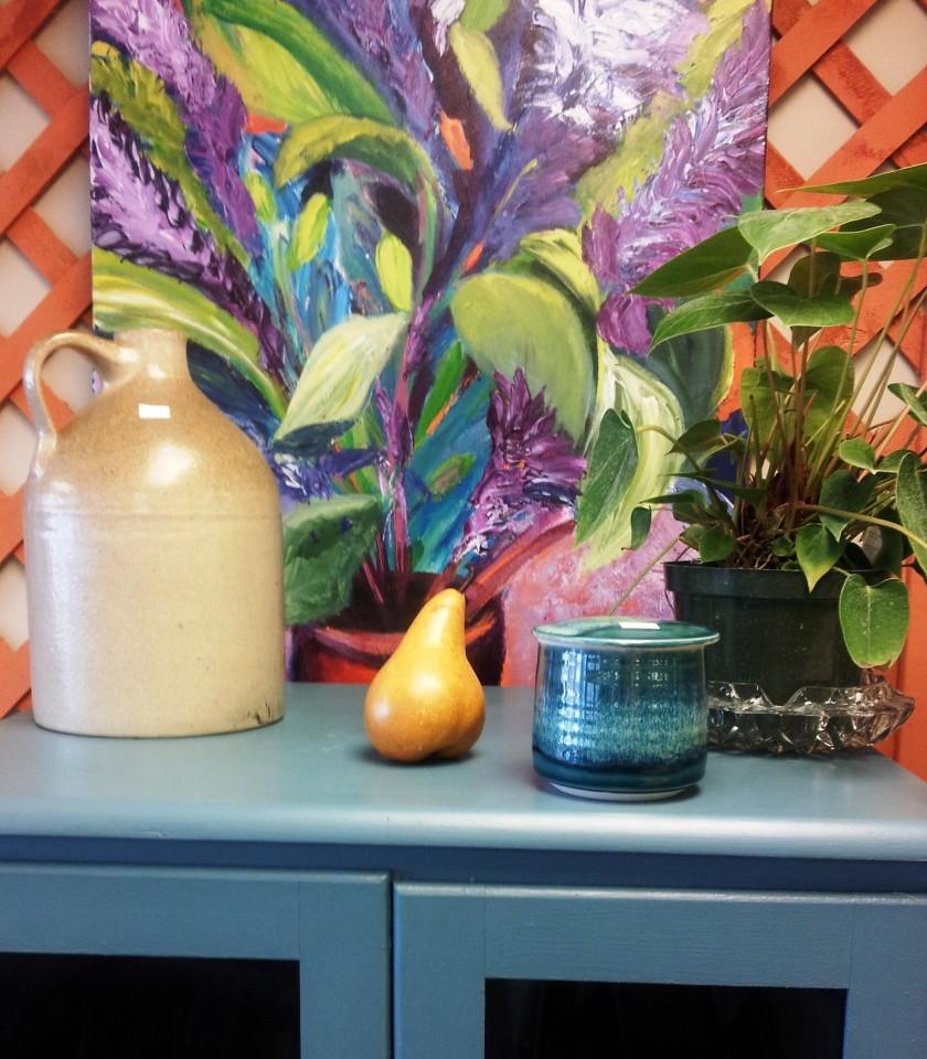 SaturdaySocks, Colorful, Vingette, Original Art, Antique Jug, Re-Loved, cabinet, LifeBridge, Thrift store, SalemMA, Hey Sadie Mae