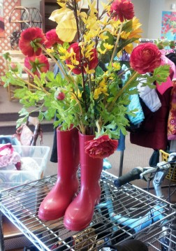 Saturday Socks, red rubber boots, rainboots, LifeBridge, thrift store, Salem MA, Hey Sadie Mae